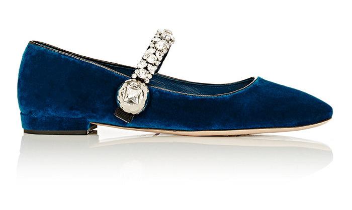 Miu Miu Crystal-Embellished Velvet Ballerina Flats