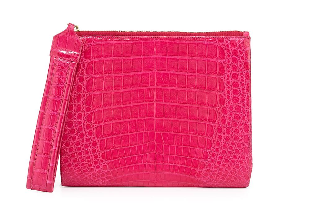 Nancy Gonzalez Crocodile Zip-Top Wristlet Bag