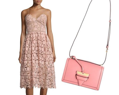 Perfect Pairs: Loewe Barcelona Shoulder Bag + Self Portrait Azaelea Guipure-Lace Illusion Dress