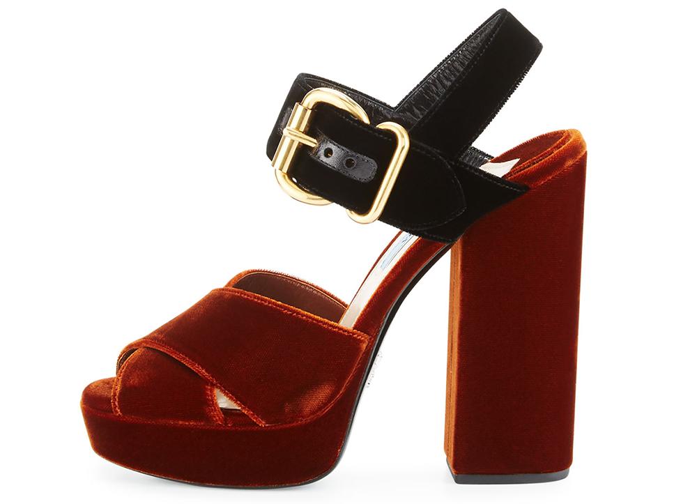 Prada Velvet Platform Crisscross Sandal