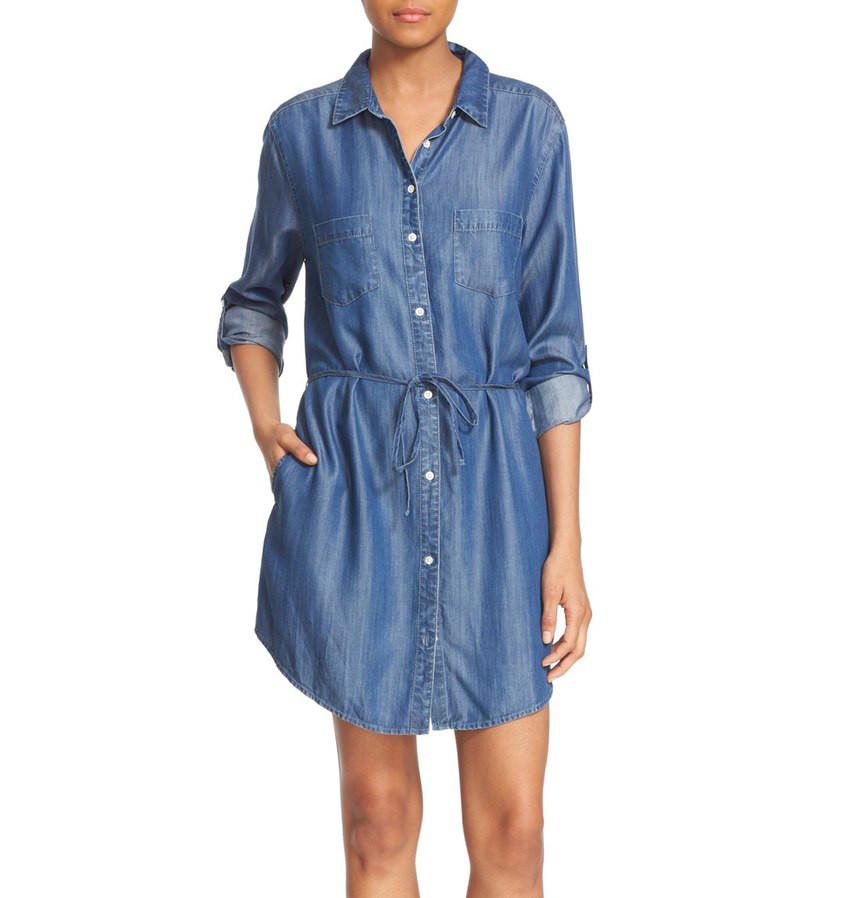 Soft Joie Lilyana Roll Sleeve Shirtdress