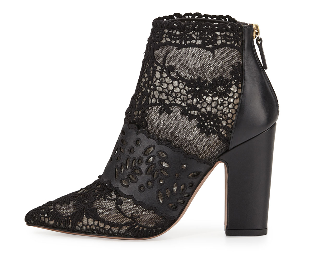 Valentino Fusion Lace Pointed-Toe Bootie