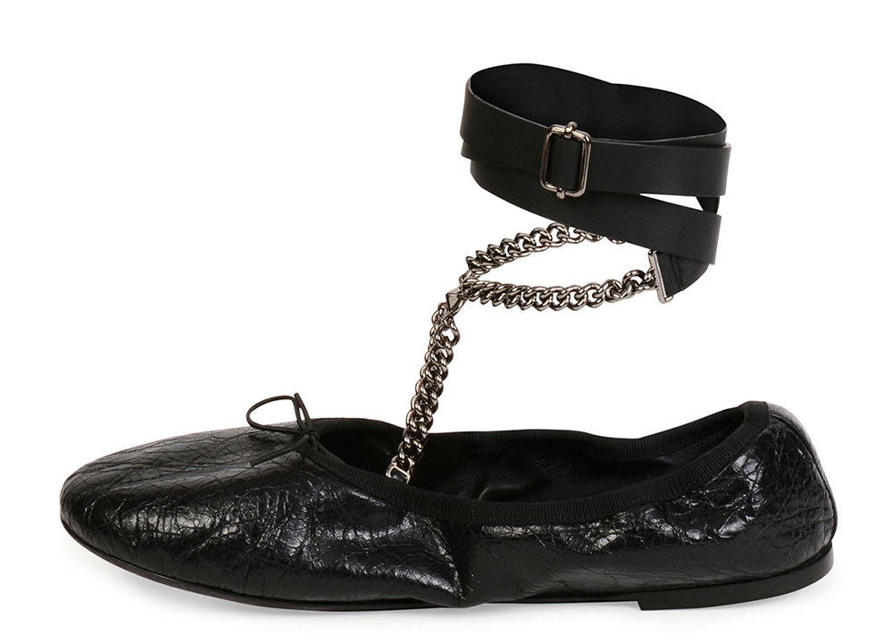 Valentino Rockstud Ballet Chain Ankle-Wrap Leather Flat