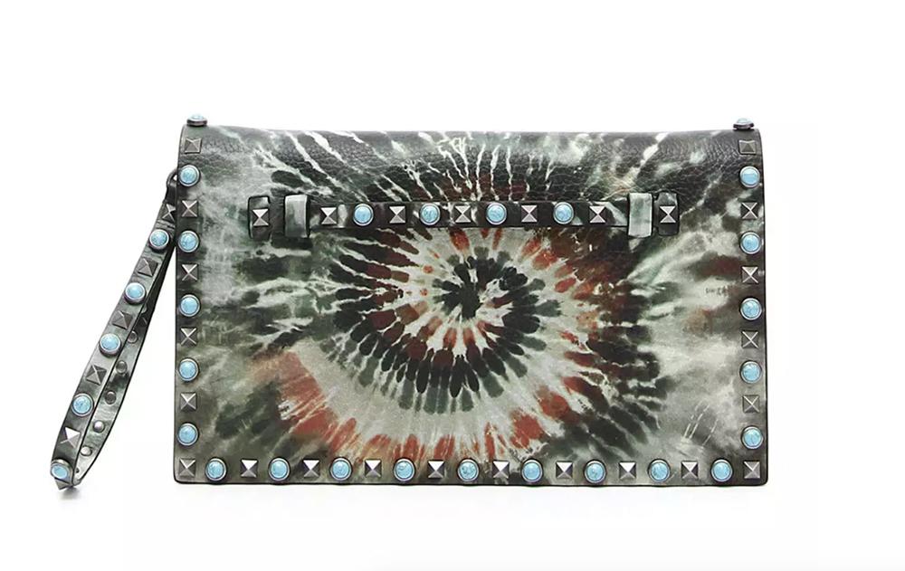 Valentino Rockstud Rolling Tie-Dye Clutch Bag