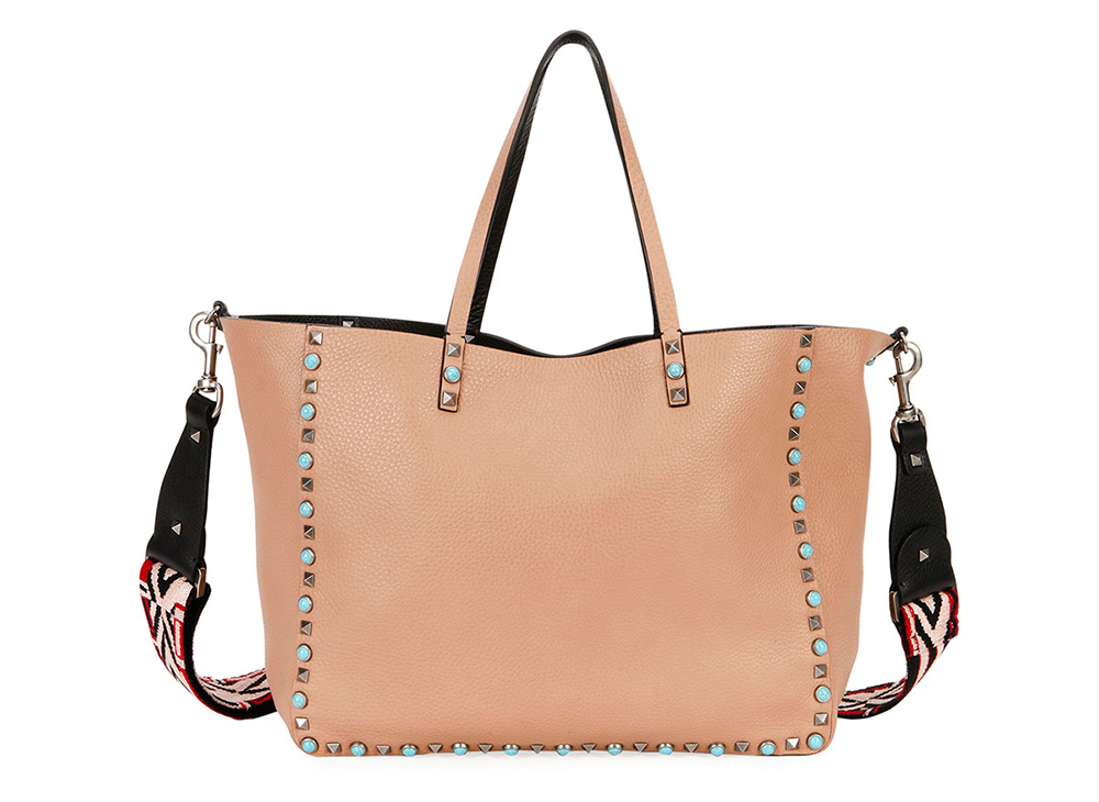 Valentino Rolling Rockstud Reversible Leather Tote Bag