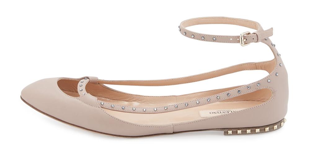 Valentino Stardust Babe Leather Ballerina Rockstud Flat
