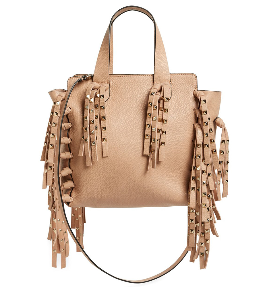 Valentino Studded Fringe Leather Tote