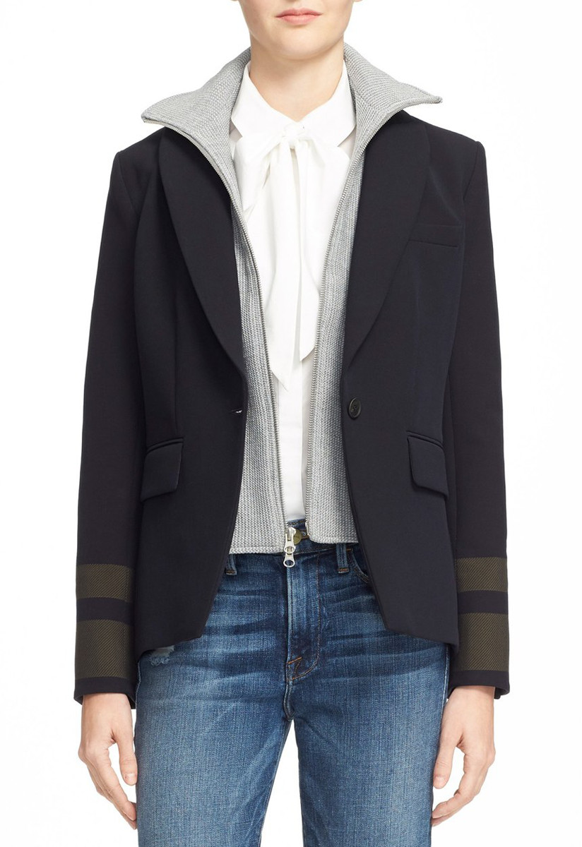 Veronica Beard Cutaway Jacket with Removable Knit Dickey