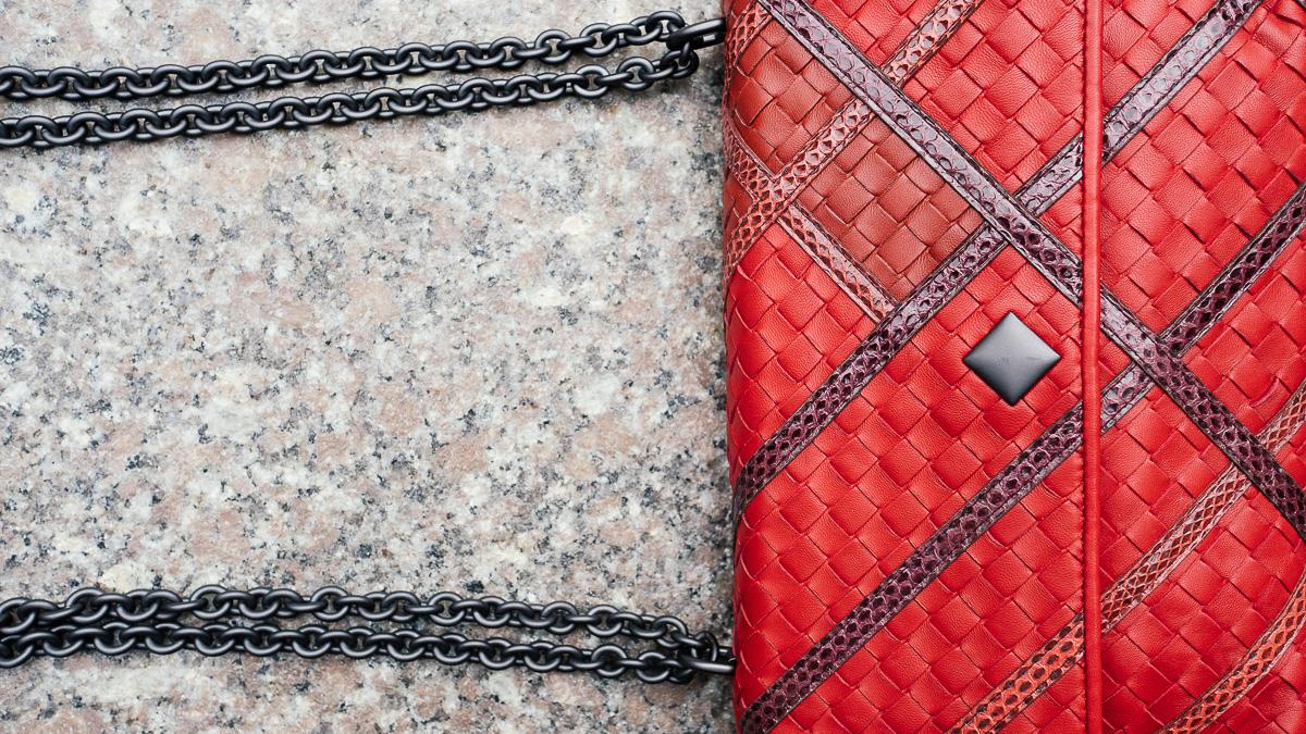 Bottega Veneta Olimpia Intrecciato Bags Red