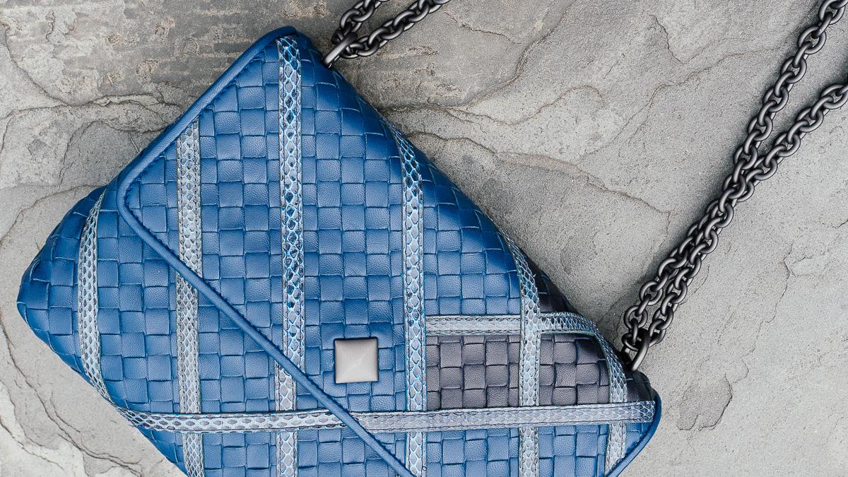 Bottega Veneta Olimpia Intrecciato Bags Blue
