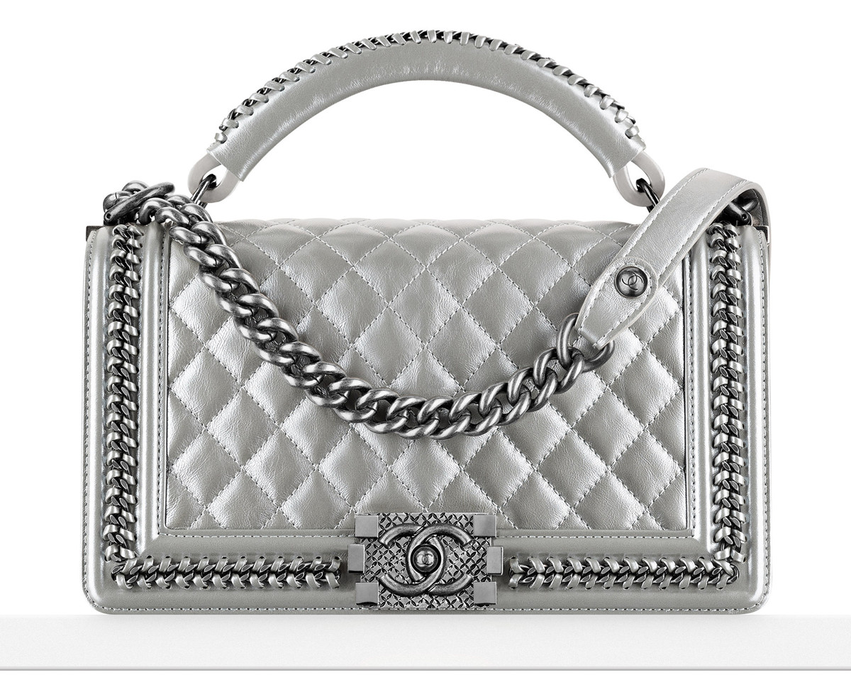 Chanel Boy Bag with Handle in Silver