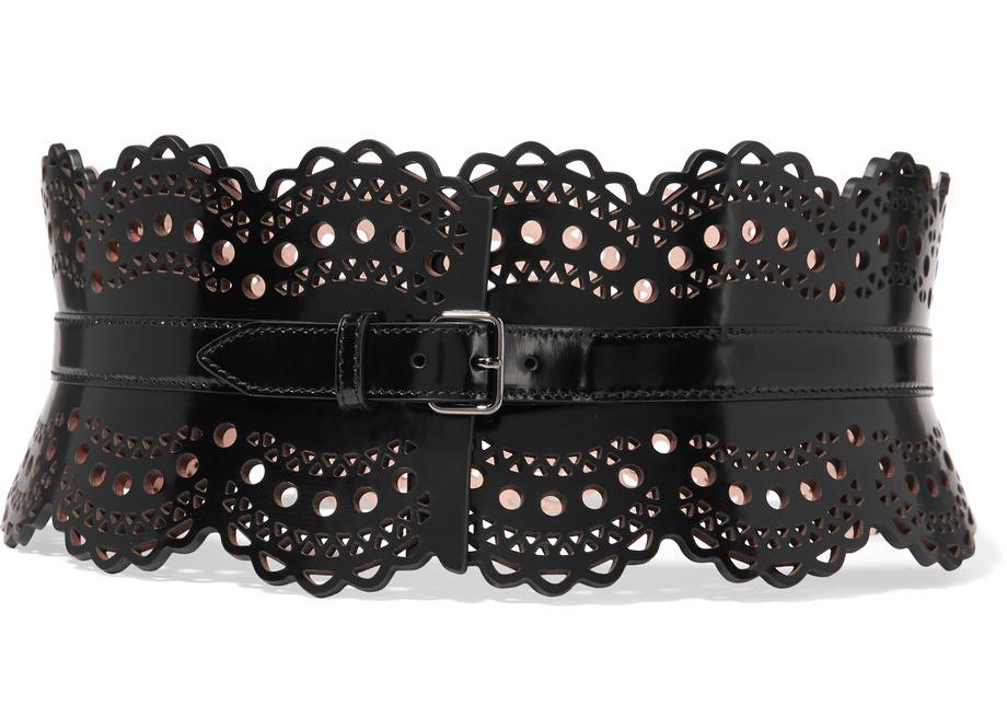 alaia-vienne-laser-cut-glossed-leather-waist-belt