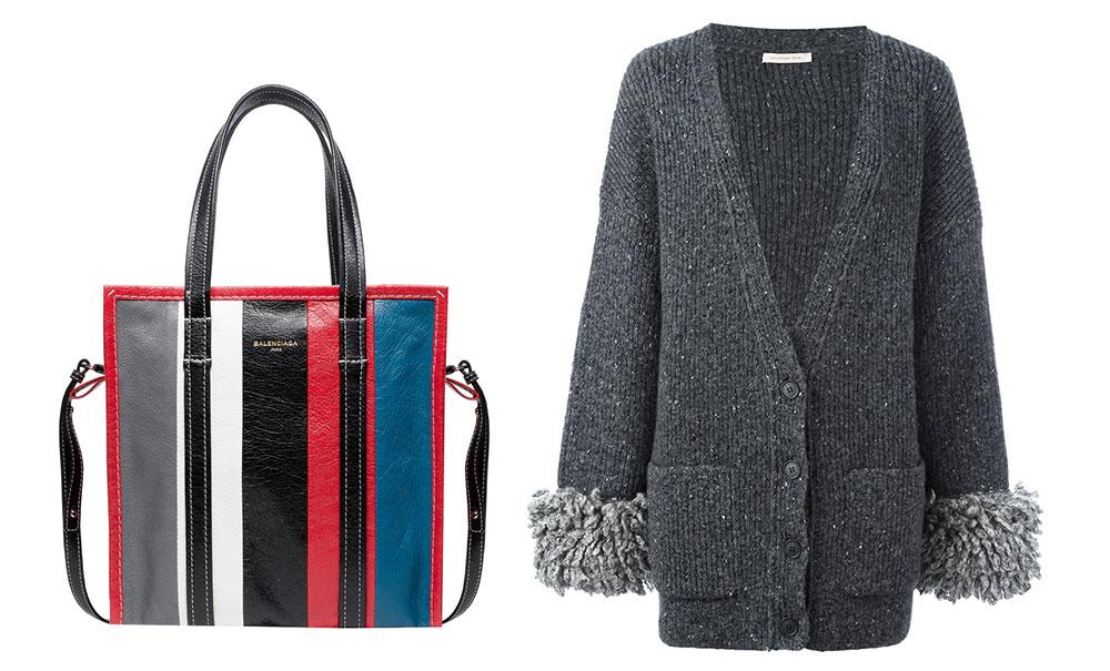 Balenciaga Bazar Shopper S Bag $1,495 via Balenciaga  Christopher Kane Oversized Cuff Cardigan $1,745 via farfetch.com