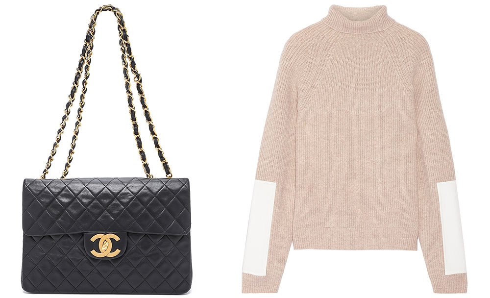 Chanel Vintage Jumbo Classic Flap Bag  $5,500 via ShopBop Victoria Beckham Faux Leather-Trimmed Wool Turtleneck Sweater $1,250 via Net-a-Porter
