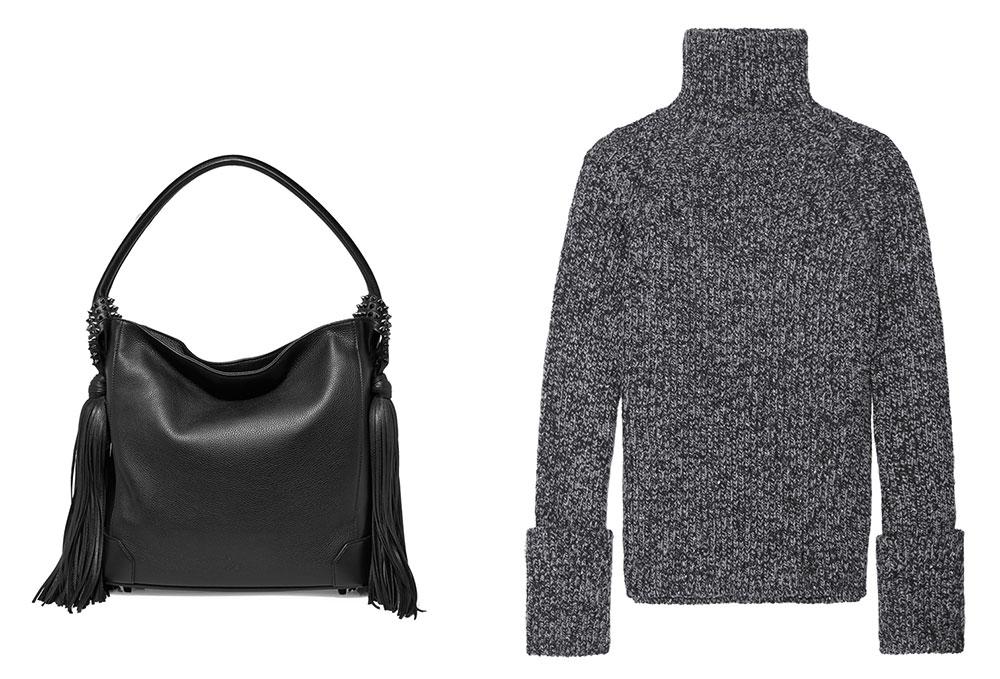 Christian Louboutin Eloise Tasseled Shoulder Bag $2,100 via Net-a-Porter  Rag & Bone Britton Striped Knitted Sweater $325 via Net-a-Porter