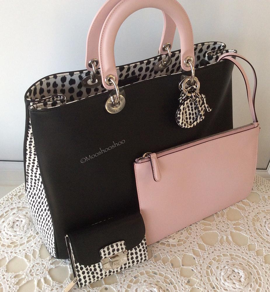 tPF Member: Mooshooshoo Bag: Dior Tricolor  Spotted Large Diorissimo Bag  Wallet: Dior Compact Wallet