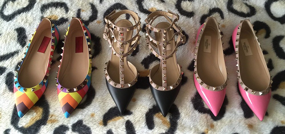 tPF Member: Mscha  Shoes: (left to right) Valentino Multicolor Rockstud Ballerina Flats, Valentino Rockstud Pumps, Valentino Rockstud Ballerina Flats  Shop: Similar styles via Neiman Marcus