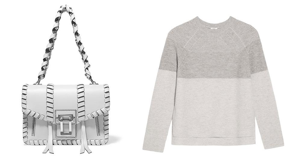 Proenza Schouler Hava Whipstitched Shoulder Bag $2,250 via Net-a-Porter  Vince Color-Block Wool and Cashmere-Blend Sweater $275 via Net-a-Porter