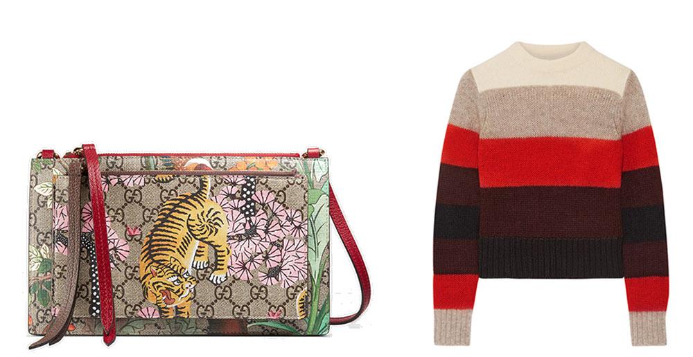 Gucci GG Supreme Shoulder Bag with Pouch $750 via Gucci  Rag & Bone Britton Striped Knitted Sweater $325 via Net-a-Porter