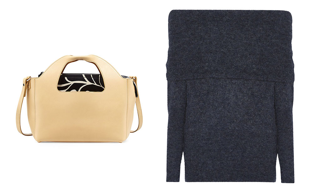 The Row Two for One 10th Floral Tote Bag $3,900 via Neiman Marcus  Acne Studios Daze Off-the-Shoulder Knitted Sweater $450 via Net-a-Porter