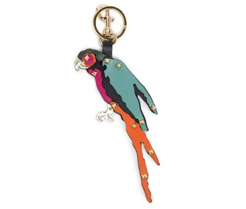 valentino-tropical-parrot-studded-leather-keychain