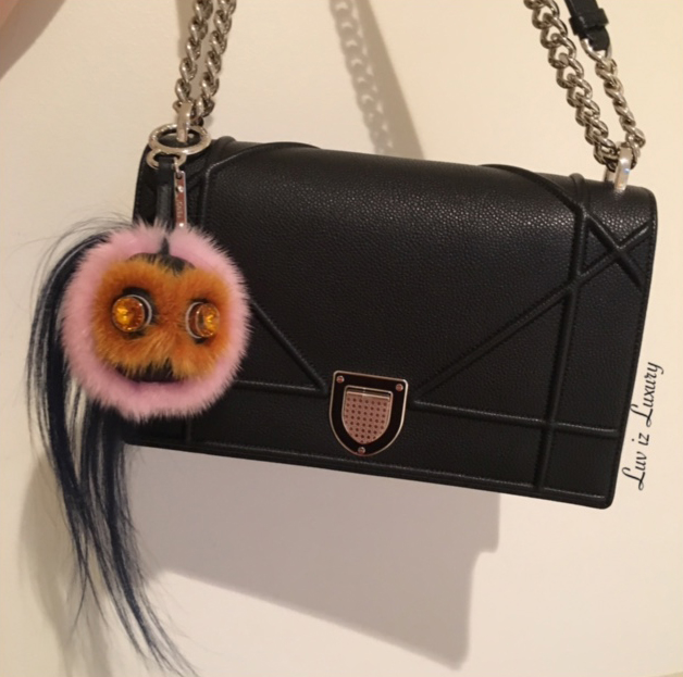 tPF Member: Luv is Louis  Bag: Dior Diorama Bag  Bag Charm: Fendi Mink Fur & Goat Fur Bag Bug ($750)
