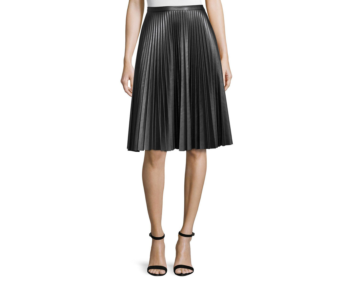 Bagatelle Plisse Leather Skirt