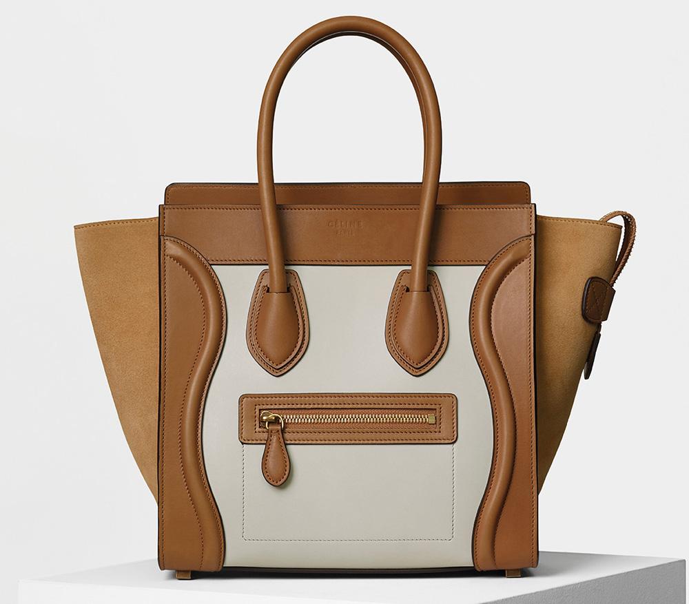Celine Micro Luggage Tote Bicolor Tan 3400