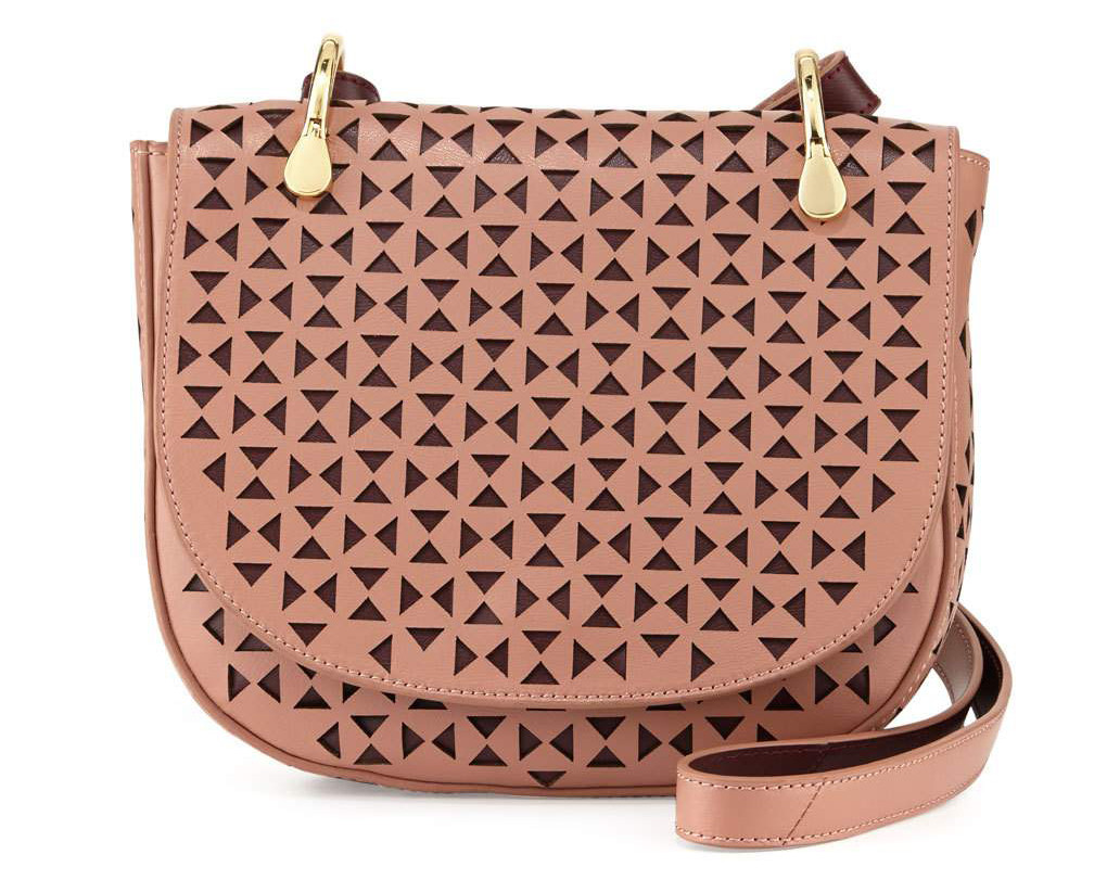 Elizabeth and James Zoe Perforated Leather Saddle Bag
