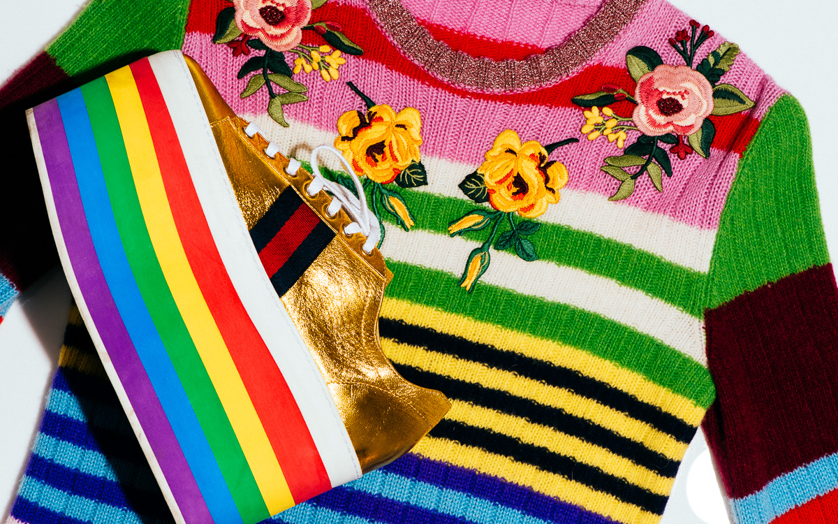 Gucci Leather low-top platform sneaker & Gucci Multicolor stripe knit top