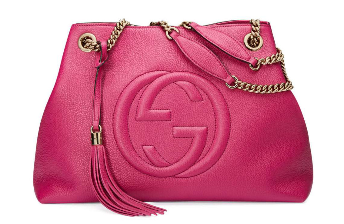 Gucci Soho Medium Leather Tote Bag in Pink