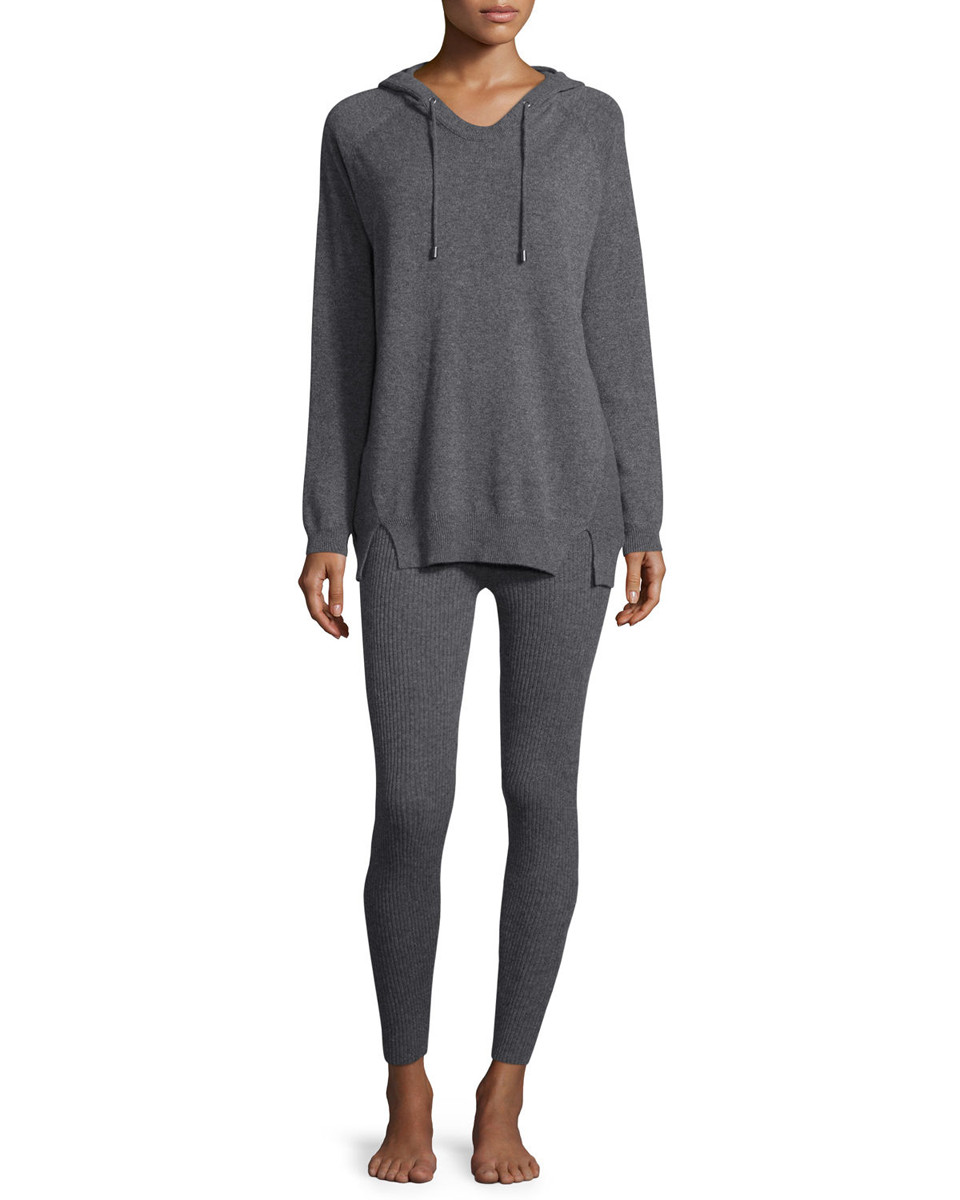 Neiman Marcus Cashmere Collection Hoodie and Ribbed Legging Set
