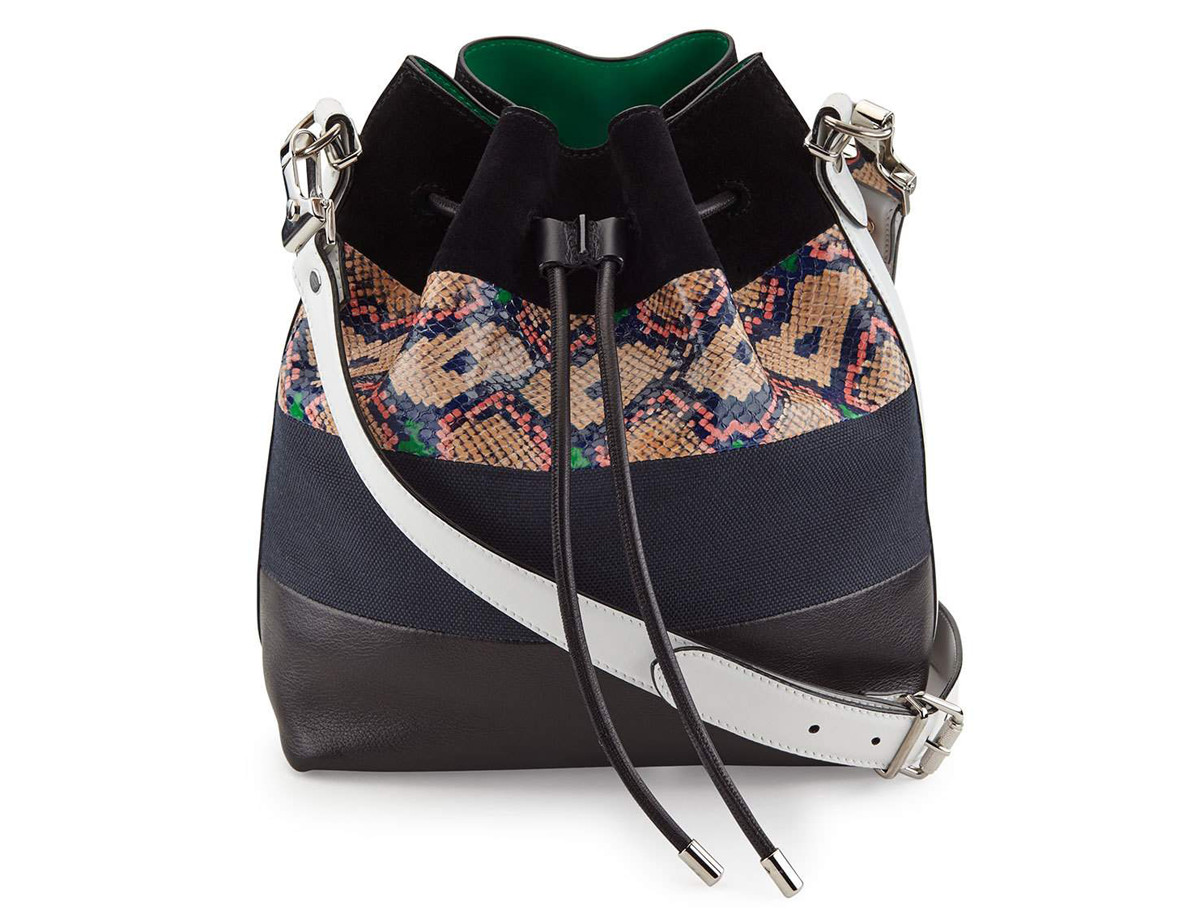 Proenza Schouler Medium Snakeskin-Striped Leather Bucket Bag