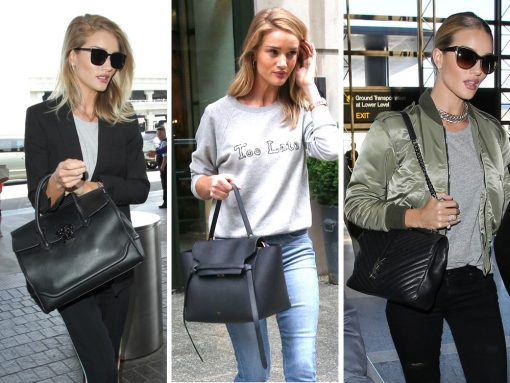 Just Can't Get Enough: Rosie Huntington-Whiteley Always Turns to Mid-Size Black Bags