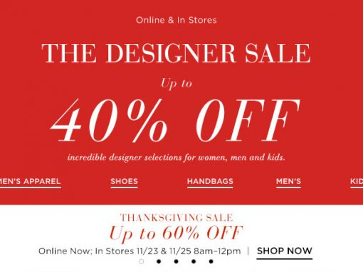 At Saks, Get Up to 60% off Until Noon at the Thanksgiving Sale and 40% off at the Designer Sale