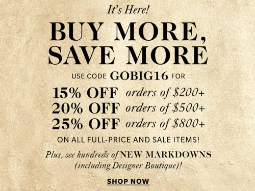 Get Up to 25% Off at the Shopbop Buy More, Save More Black Friday 2016 Sale!