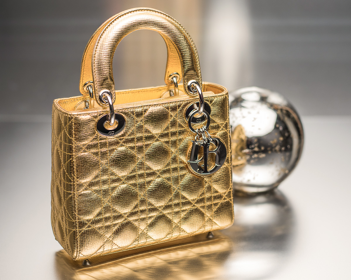 Lady Dior Bag in Gold-Tone Grained Leather - $3,450