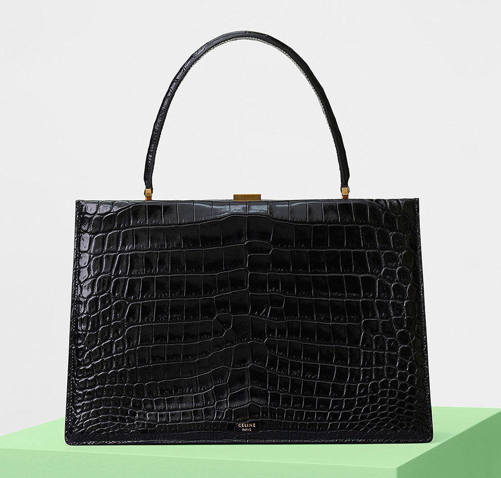 Celine Clasp Bag Black Crocodile
