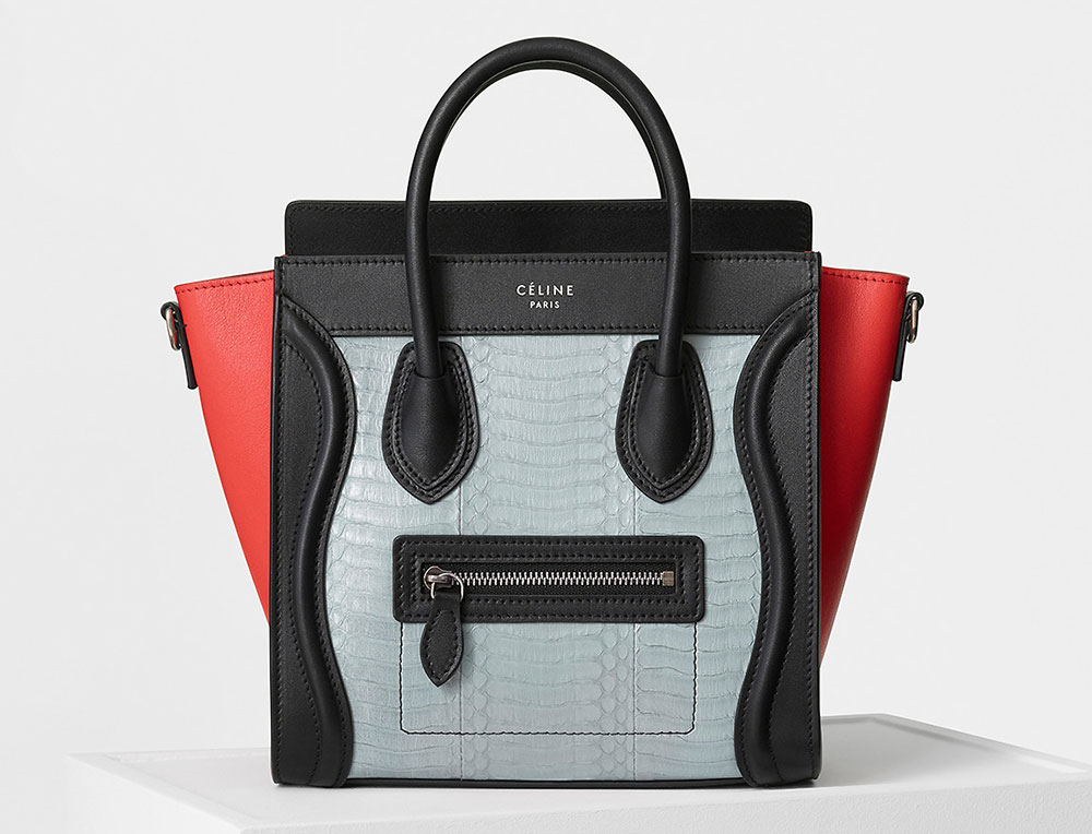 Celine Nano Luggage Tote Tricolor Watersnake