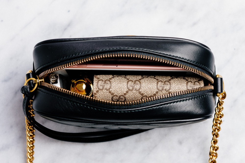 fc68ba01e0a7 What Fits  Gucci GG Marmont Mini Matelassé Camera Bag - PurseBlog
