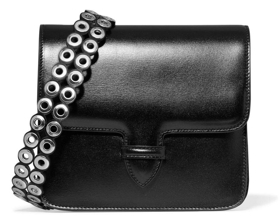 Alaia Eyelet-Embellished Glossed-Leather Shoulder Bag