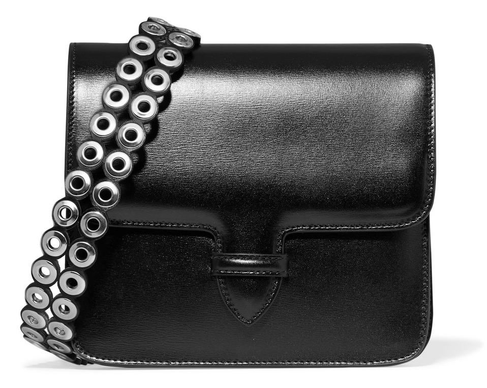 Alaia Eyelet-Embellished Glossed-Leather Shoulder Bag