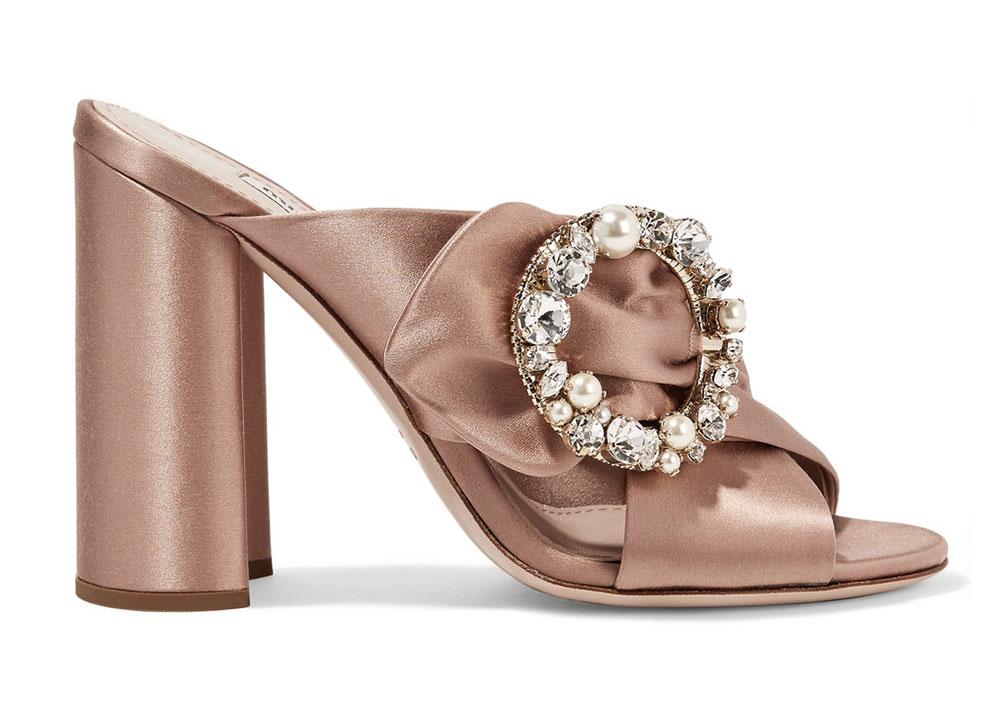 Low Heel Wedding Shoes 94 Luxury Miu Miu Satin Mules