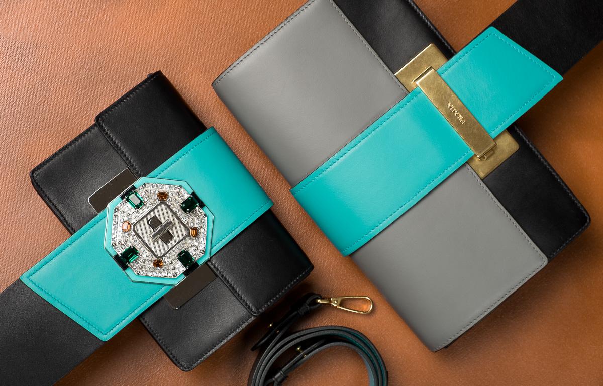 8d341d4e594e8b Prada Jewels Ribbon Bag in black + jade green $2,840 – Prada Metal Ribbon  in marble gray + jade green + black $2,280
