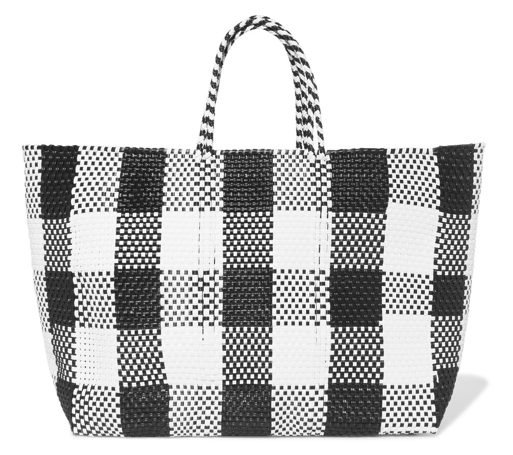 Truss Plaid Large Woven Raffia-Effect Tote