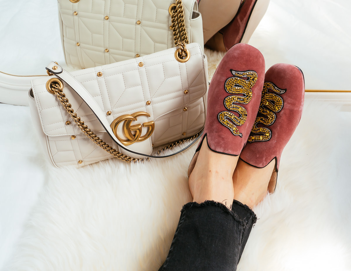 63ee4a63efcb20 Perfect Pairs: Gucci Marmont and Gucci Velvet Evening Slipper - PurseBlog