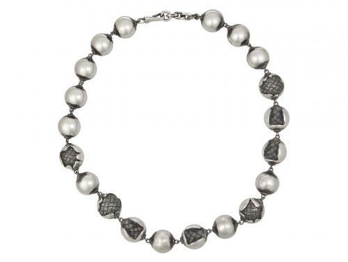 Bottega Veneta Oxidized Sterling Silver Necklace