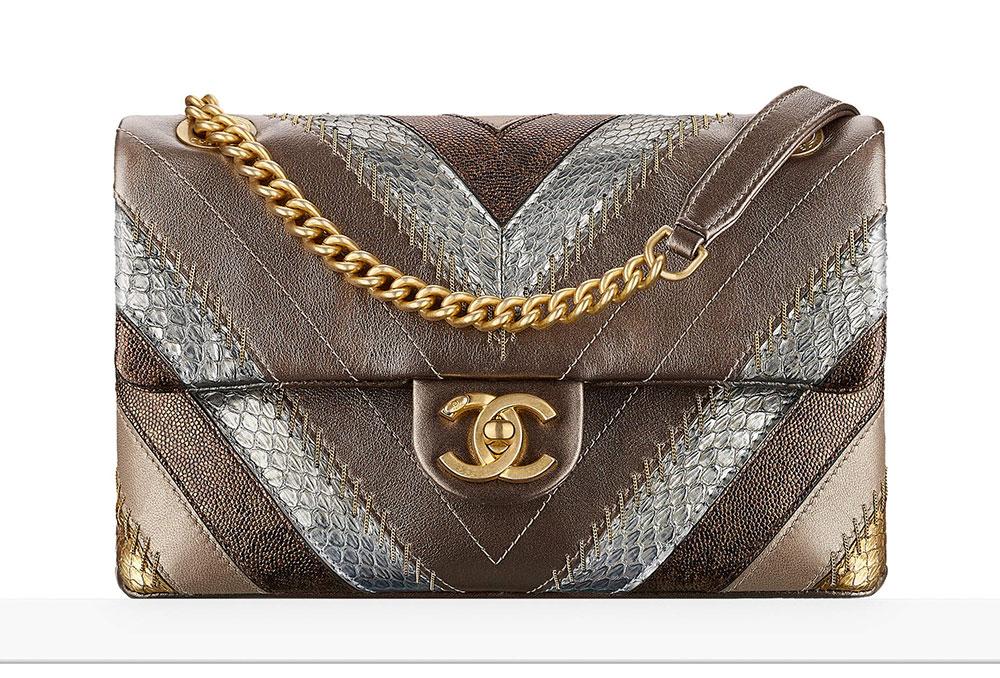 f63c154476d6 Chanel-Flap-Bag-Patchwork-Bronze-Snakeskin-5300 - PurseBlog