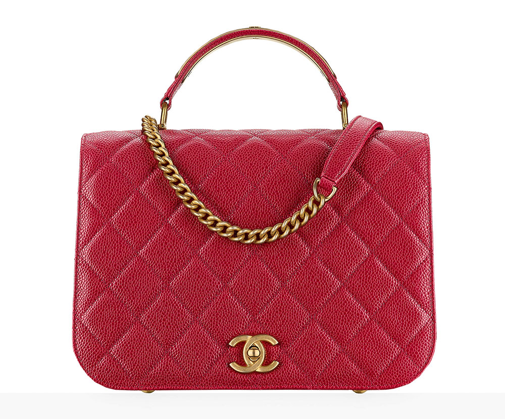 Chanel Flap Bag With Top Handle Red 3600