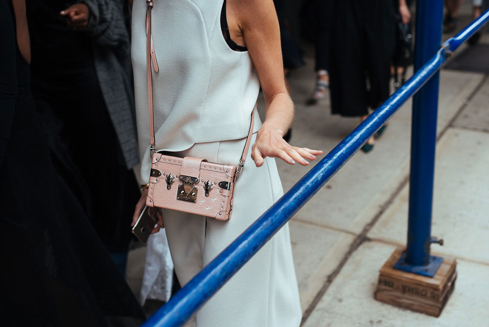 our 40 favorite street style handbag photos of new york fashion weeks past purseblog. Black Bedroom Furniture Sets. Home Design Ideas
